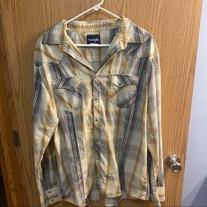 Wrangler Snap Button Western Cowboy Wear Shirt